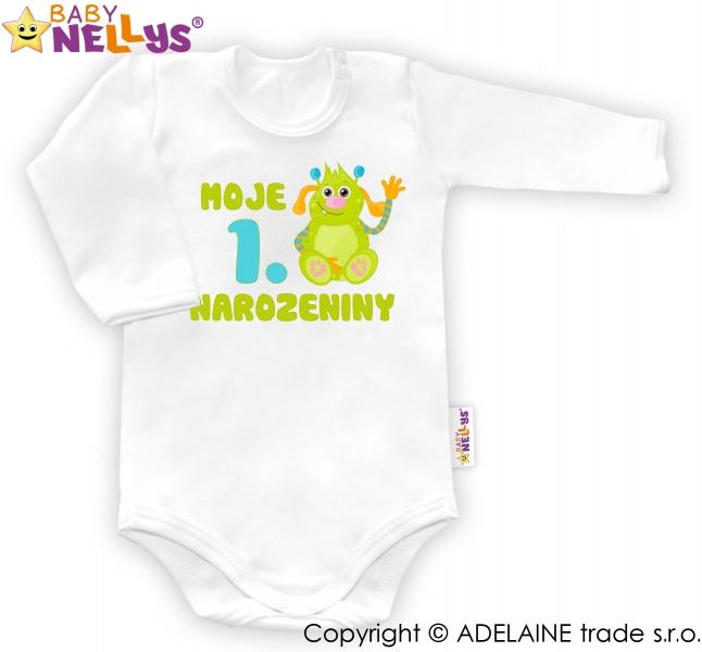 Body dl. rukáv - Moje 1. narozeniny Kluk Baby Nellys ®, Velikost: 80 (9-12m)