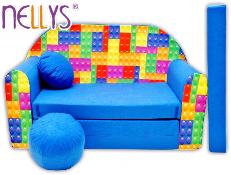 Rozkládací dětská pohovka Nellys ® 65R - Kostičky v modré