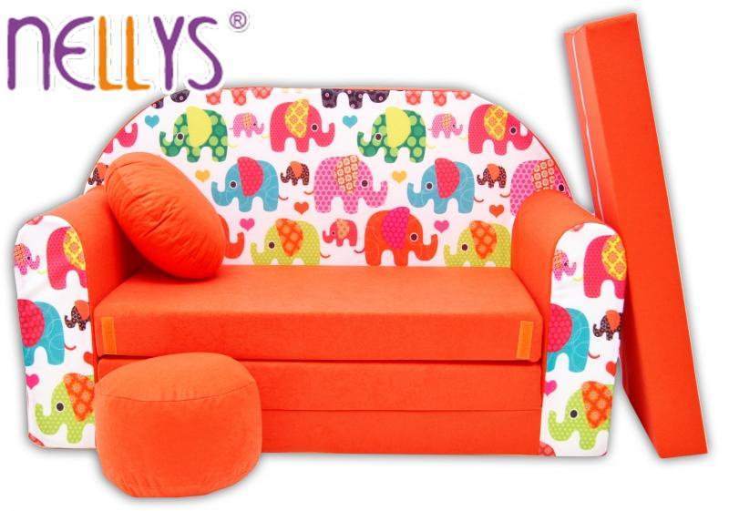 Rozkládací dětská pohovka Nellys ® 67R - Veselí sloni oranžoví