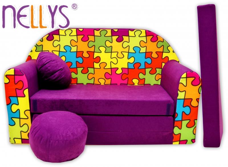 Rozkládací dětská pohovka Nellys ® 68R - Puzzle fialové
