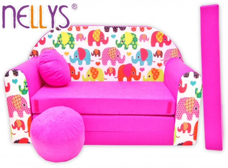 Rozkládací dětská pohovka Nellys ® 69R - Veselí sloni v růžové