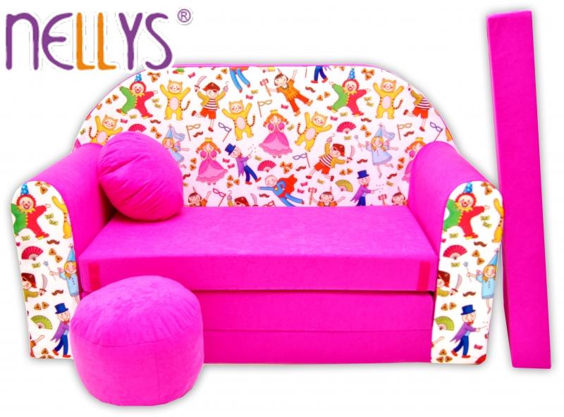 Rozkládací dětská pohovka Nellys ® 70R - Pohádkové postavičky v růžové