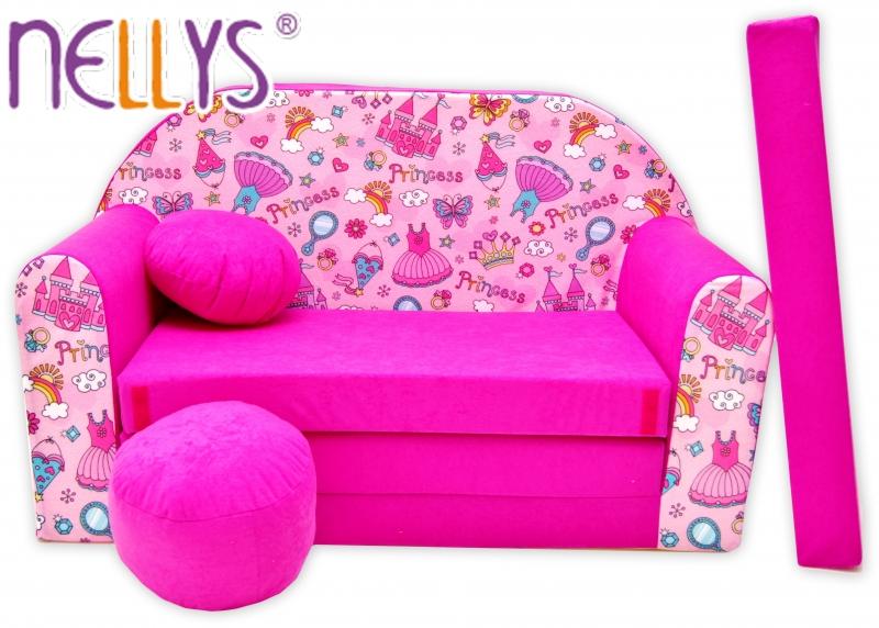 Rozkládací dětská pohovka Nellys ® 71R - Princezna v růžové