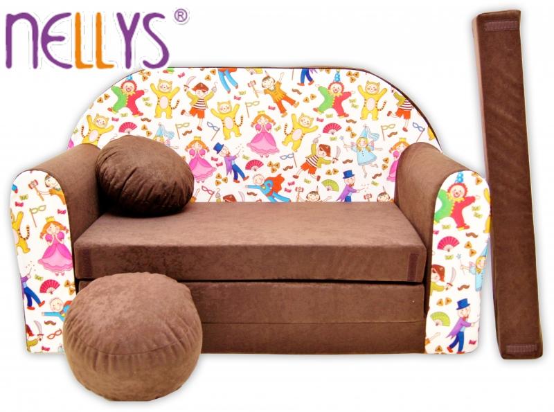 Rozkládací dětská pohovka Nellys ® 73R - Pohádkové postavičky v hnědé