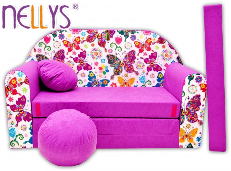 Rozkládací dětská pohovka Nellys ® 74R - Motýlci ve fialové