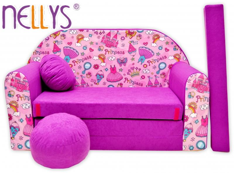 Rozkládací dětská pohovka Nellys ® 75R - Princezna ve fialové