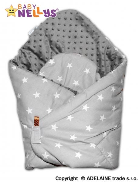 Luxusní zavinovačka MINKY BABY - oboustranná šedé hvězd / šedá - MINKY Baby, Oboustranná, Hvězdičky šedé / Minky šedá