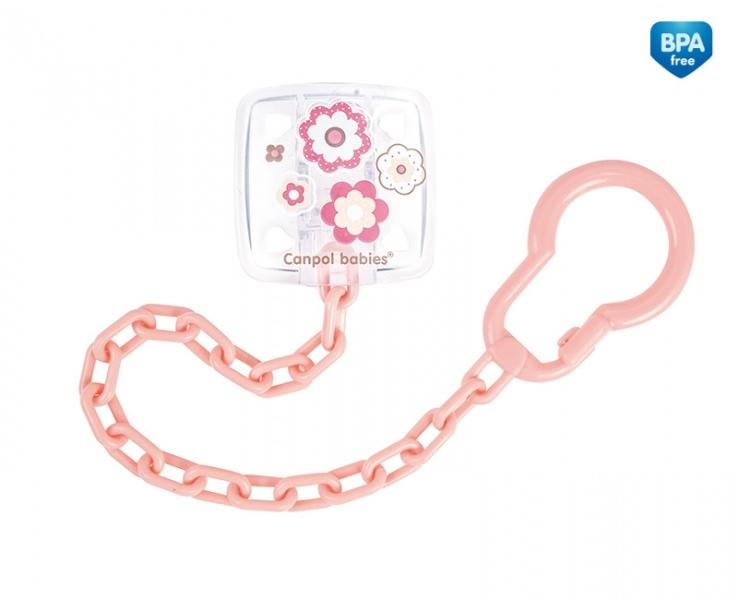 Řetízek na dudlík  Canpol Babies - Newborn baby sv. růžový