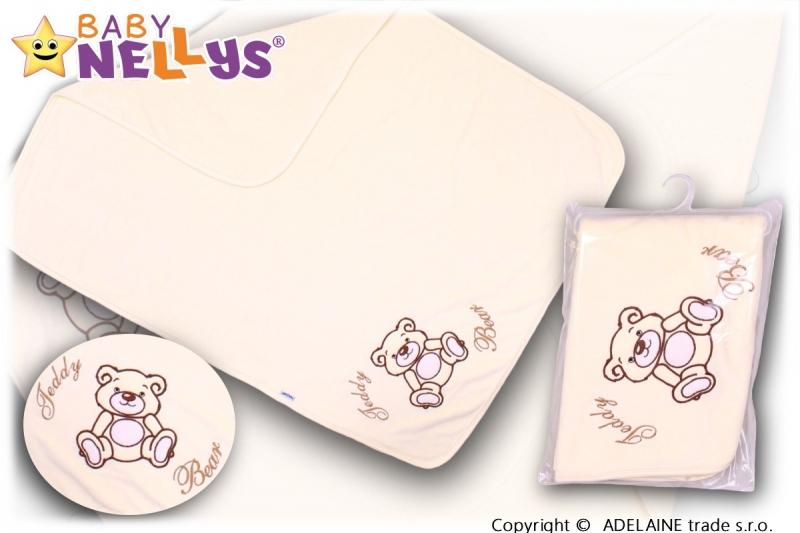 Baby Nellys  Deka/dečka froté/velur - Medvídek Teddy Bear - smetanová