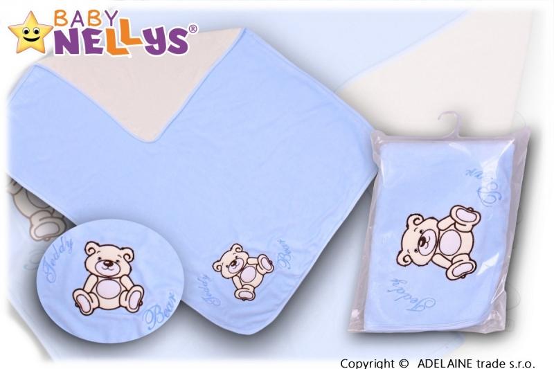 Baby Nellys  Deka/dečka froté/velur - Medvídek Teddy Bear - sv. modrá