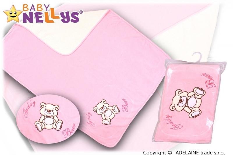 Baby Nellys  Deka/dečka froté/velur - Medvídek Teddy Bear - sv. růžová