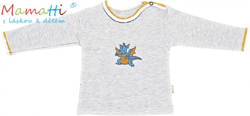 Tričko/košilka dl.rukáv Mamatti - Drak, Velikost: 86 (12-18m)