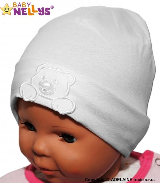 Bavlněná čepička Medvídek Baby Nellys ® - bílá - vel. 38 - 42cm, barva: Bílá, orientační velikost dle věku: 0-6měsíců