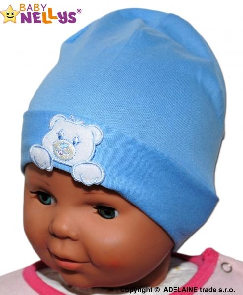 Bavlněná čepička Medvídek Baby Nellys ® - modrá - vel. 38 - 42cm, barva: Modrá, orientační velikost dle věku: 0-6měsíců