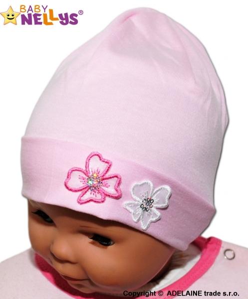 Bavlněná čepička Kytičky Baby Nellys ® - sv. růžová, Velikost: 38/42 čepičky obvod