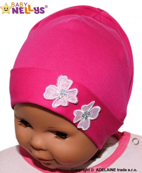 Bavlněná čepička Kytičky Baby Nellys ® - sytě růžová, Velikost: 38/42 čepičky obvod