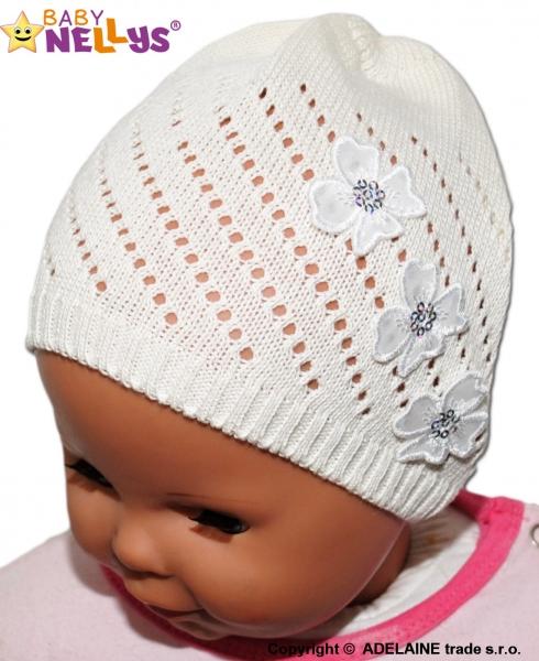 Háčkovaná čepička Kytičky Baby Nellys ® - smetanová