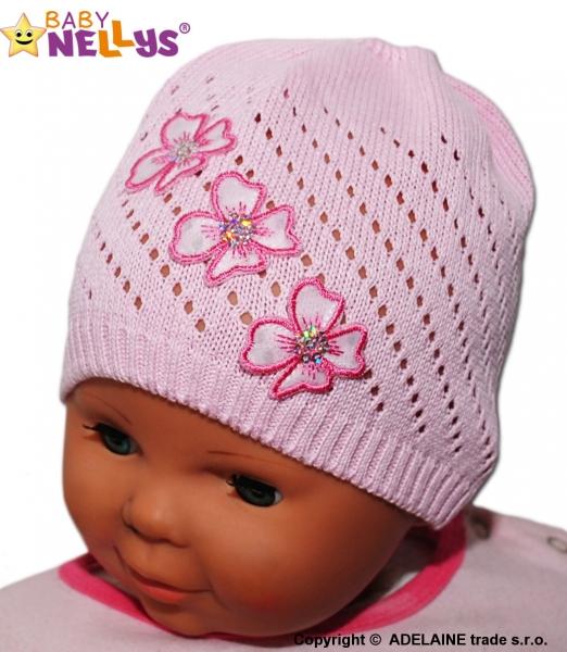 Háčkovaná čepička Kytičky Baby Nellys ® - sv. růžová