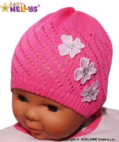 Háčkovaná čepička Kytičky Baby Nellys ® - tm. růžová