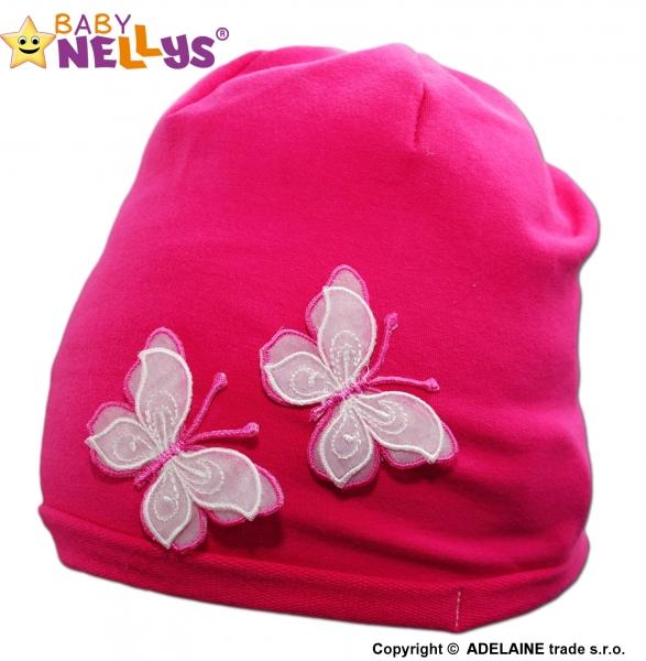 Bavlněná čepička Motýlky Baby Nellys ® - tm. růžová