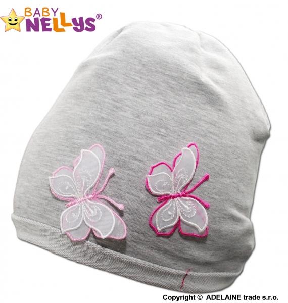 Bavlněná čepička Motýlky Baby Nellys ® - šedý melír, Velikost: 48/52 čepičky obvod