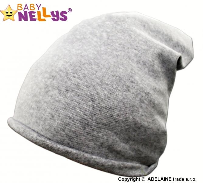 Bavlněná čepička Klasik Baby Nellys ® - šedý melír, Velikost: 48/54 čepička obvod