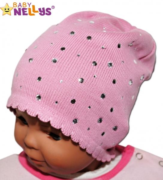Čepička Baby Nellys ® s kamínky - sv. růžová, Velikost: 40/46 čepičky obvod