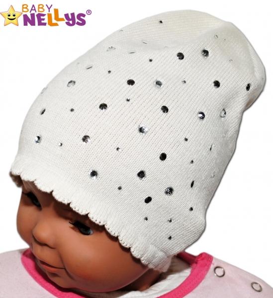 Čepička Baby Nellys ® s kamínky - smetanová