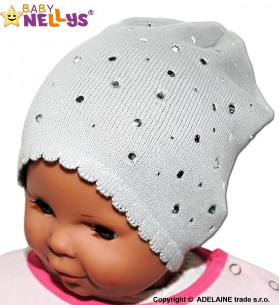 Čepička Baby Nellys ® s kamínky - šedá