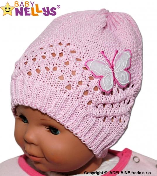 Háčkovaná čepička Motýlek Baby Nellys ® - růžová