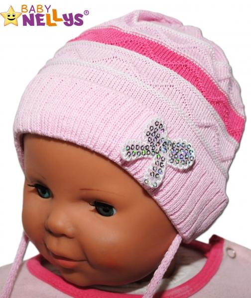 Čepička Proužek Baby Nellys ® na zavazování - růžová, Velikost: 38/40 čepičky obvod