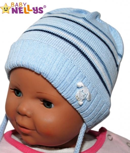 Čepička Proužek Baby Nellys ® na zavazování - sv. modrá