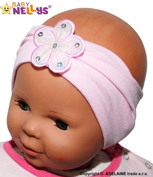 Čelenka Baby Nellys ® s květinkou - sv. růžová