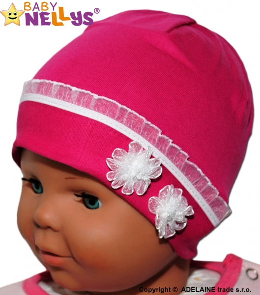 Bavlněná čepička Kytičkami s krajkou Baby Nellys ® - sytě růžová, Velikost: 38/42 čepičky obvod