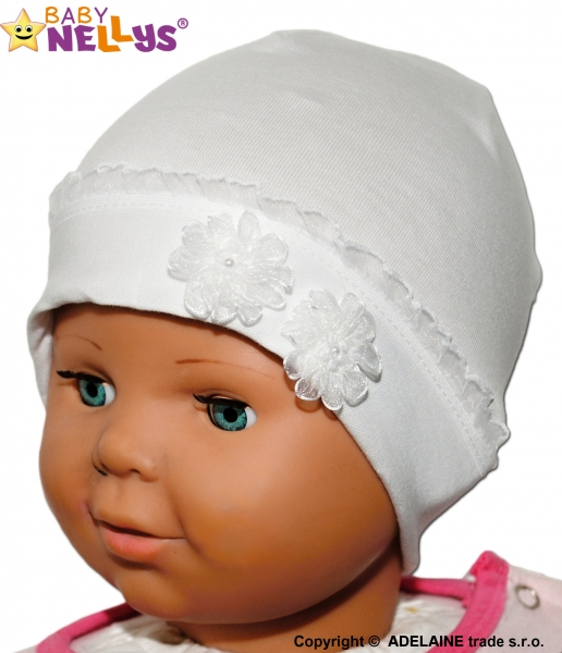 Bavlněná čepička Kytičkami s krajkou Baby Nellys ® - bilá