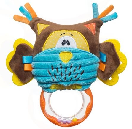 BabyOno Edukační hračka s chrastítkem a kousátkem - Sova