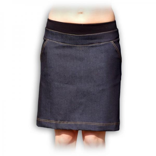 Riflová sukně nejen pro těhotné - barva: jeans, vel. 40