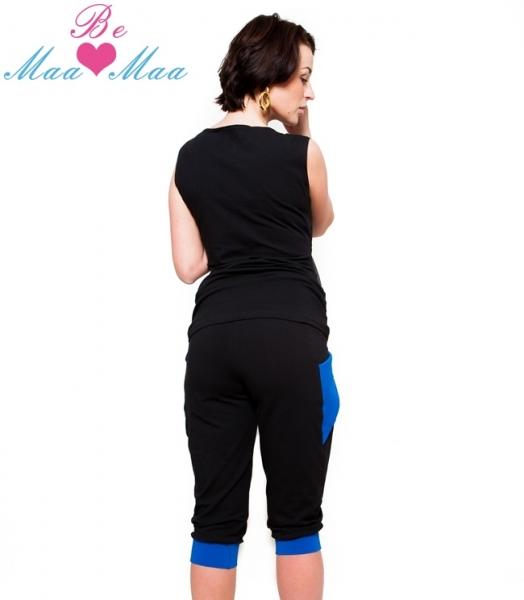 Be MaaMaa Sportovní, elegantní 3/4 kalhoty Tessi - černé