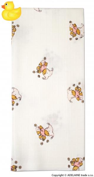 Tetrová bavlněná plenka 70x70 - Kašpárek růžový - 1ks
