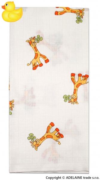 Tetrová bavlněná plenka 70x70 Žirafka - 1ks