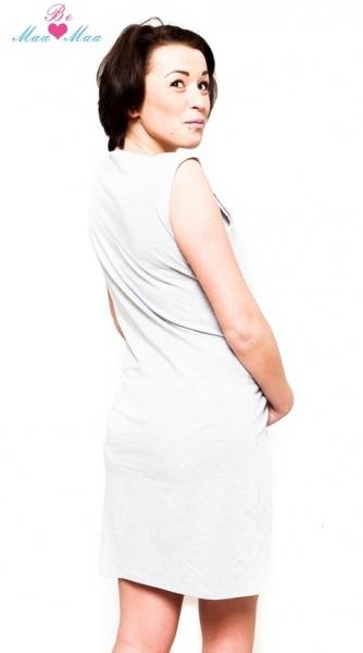 Be MaaMaa Těhotenská, kojící noční košile Iris - sv.šedá