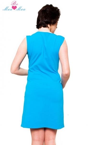 Be MaaMaa Těhotenská, kojící noční košile Iris - modrá