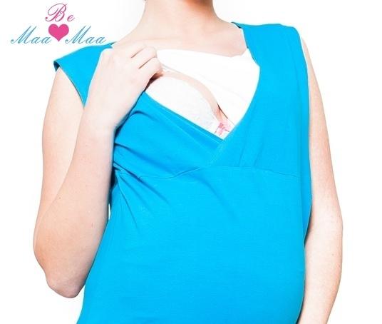 Be MaaMaa Těhotenská, kojící noční košile Iris - modrá, vel. L/XL