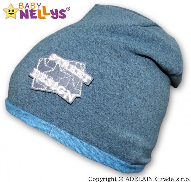 Bavlněná čepička Street Baby Nellys ® - tm.modrý melír, Velikost: 48/52 čepičky obvod