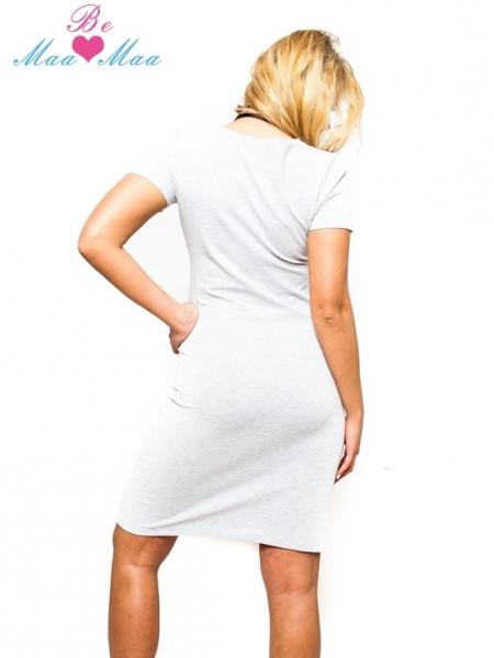 Be MaaMaa Těhotenská, kojící noční košile Luna - sv. šedá, L/XL, B19
