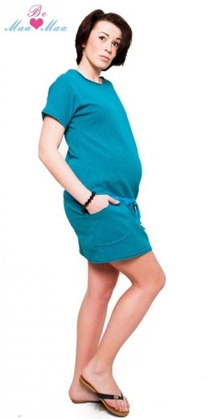 Těhotenské šaty Be MaaMaa - ESTELLE - mořský tyrkys - melírek