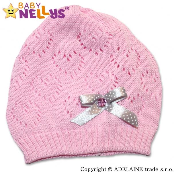 Háčkovaná čepička Mašlička Baby Nellys ® - sv. růžová