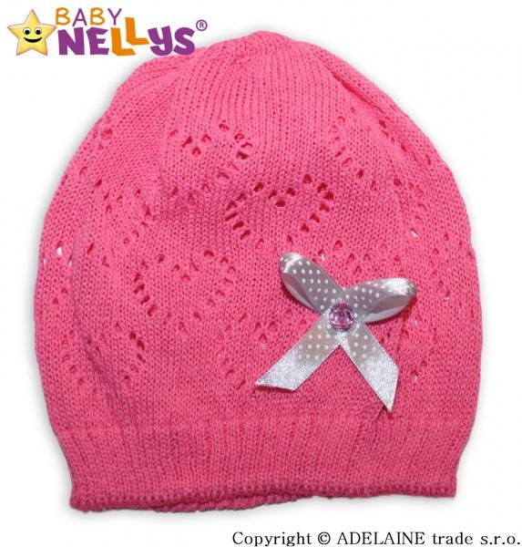 Háčkovaná čepička Mašlička Baby Nellys ® - tm. růžová