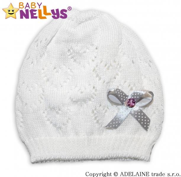 Háčkovaná čepička Mašlička Baby Nellys ® - bílá, Velikost: 44/52 čepička obvod
