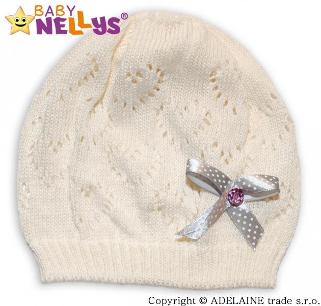 Háčkovaná čepička Mašlička Baby Nellys ® - smetanová